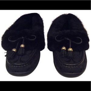 Coach | Black Fiona Tassled Shearling Moccasins